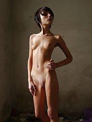 Skinny Brunette Naked Tease